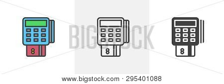 Pos Terminal With Credit Card Icon. Line, Glyph And Filled Outline Colorful Version, Pay Transaction