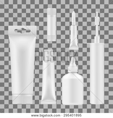 Glue Tube, Bottles And Stick Vector Mockups. Blank Package Templates Of Super Glue, Silicone Sealant