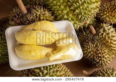 Ripe Durian Pack On The Raw Durian Shelf In The Market.