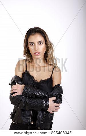 Beauty Girl In Black Leather Jacket Studio Shoot
