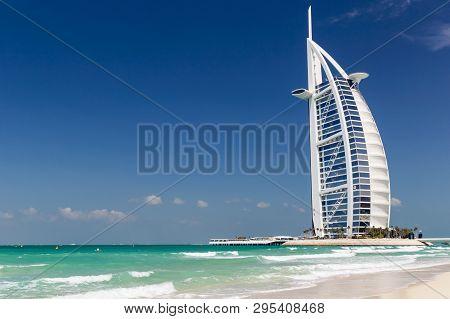 Dubai, Uae-march 9 2019: View Of The Luxury Beach Of Dubai And Burj Al Arab On The 9th Of March 2019