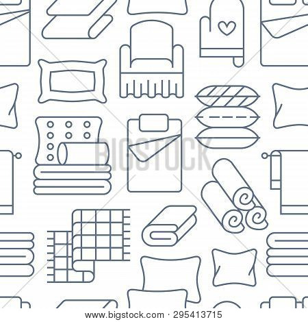 Home Textiles Seamless Pattern With Flat Line Icons. Bedding, Bedroom Linen, Pillows, Sheets Set, Bl