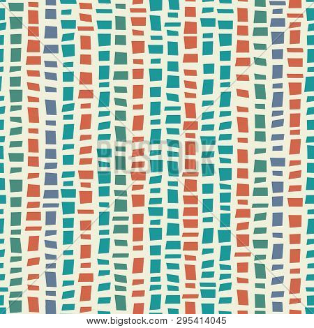Blue, Green Mosaic Terrazzo Style Vertical Striped Design With Accent Coral Colour. Seamless Vector