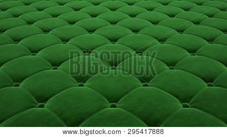 Quilted Fabric Surface. Festive Green Corduroy. Option 1