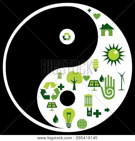 yin yang chinese  illustration feng shui  balance zen silhouette taoism   recycle environment green save poster