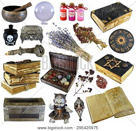 Design set with old books, ancient manuscript,  witch herbs, potion isolated on white. Wicca, esoteric, divination and occult concept with vintage magic objects for mystic rituals poster