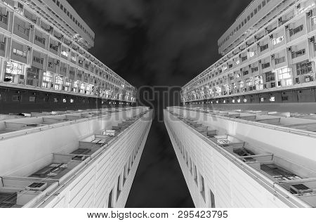 Public Estate Residential Building In Hong Kong City At Night