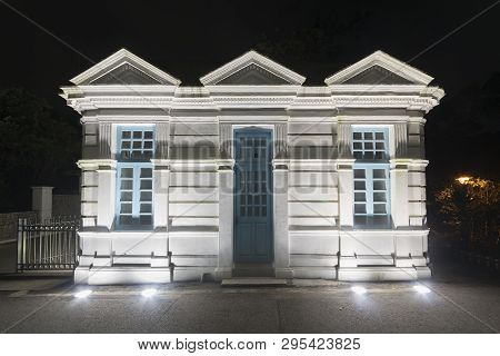 Historical Building In The Dark At Night