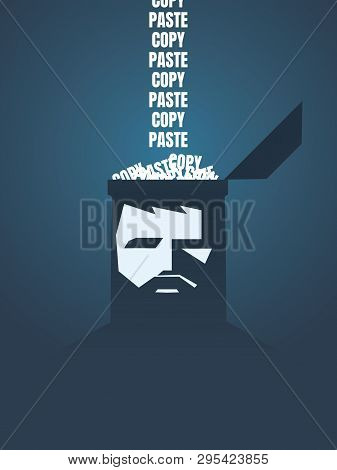 Copy Paste Vector Concept With Persons Brain Loading With The Same Text. Symbol Of Repetition, Routi