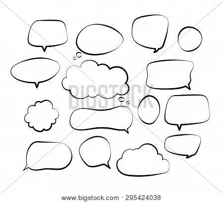 Outline Speech Bubbles. Doodle Speech Balloon Sketch Hand Drawn Scribble Bubble Talk Cloud Comic Lin