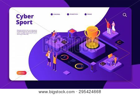 Cyber sport. Esports stream online video game gamer tournament computer console 3d games competitive market vector landing page. Illustration of cybersport, gamer video sport poster