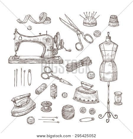 Tailor Shop. Sketch Sewing Tools Materials Vintage Clothes Needlework Textile Industry Stitching Tai