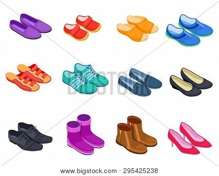 Shoe Isometric. Slippers Sports Footwear Sneakers Male And Female Shoes, Boots 3d Isolated Footwears
