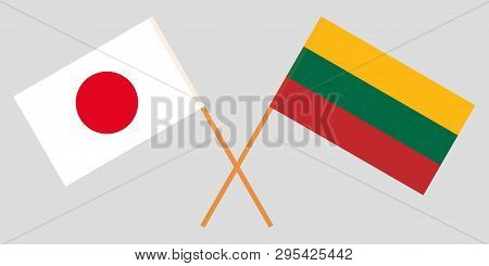 Japan And Lithuania. The Japanese And Lithuanian Flags. Official Colors. Correct Proportion. Vector
