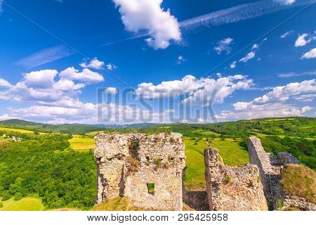 Ruins Of A Medieval Castle Beckov With Surrounding Countryside, Slovakia, Europe.