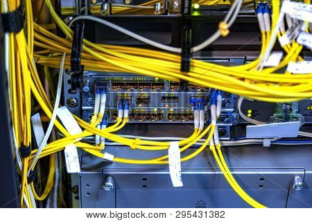 Close Up Telecommunication Working Data Device Fiber Optical Cables Connect To Interface, Multiple I