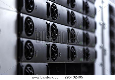 Cryptocurrency Miners Bitcoin Blockchain With Black White Toning Blurred Side Frame 3d Render