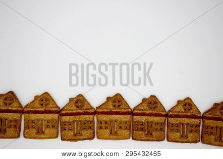 Magnificent And Delicious Cookies In The Form Of A One-story Building. Isolated Image. Copy Space