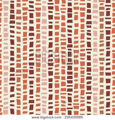 Terracotta Coloured Mosaic Terrazzo Style Vertical Striped Design. Seamless Vector Pattern On Cream