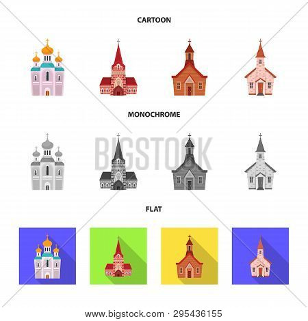 Isolated Object Of Cult And Temple Sign. Set Of Cult And Parish Stock Vector Illustration.