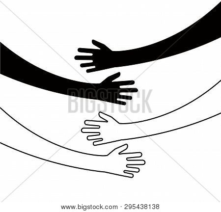 Hugging Hands. Arm Embrace, Belief Togetherness Unique Relationship Hugged Hands Vector Isolated Con