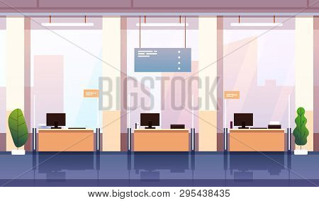 Bank Interior. Banking Investment Wealth Growth Symbols. Empty Bank Office Consulting Center Cartoon