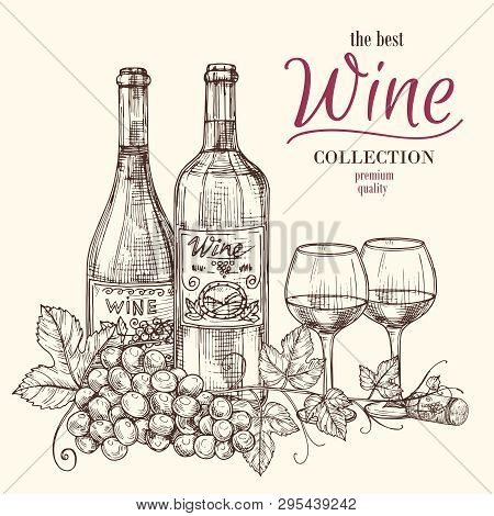 Best Wine Vector Banner Template With Hand Drawn Wine Bottles, Glasses And Grape. Illustration Of Wi