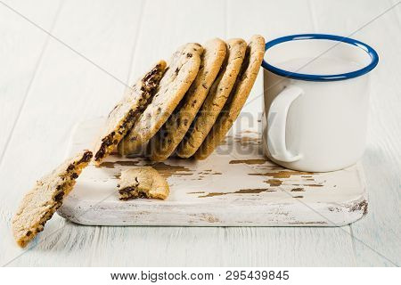 Chocolate Chip Cookies On Old White Wooden Cutting Board. American Cuisine. Copy Space.