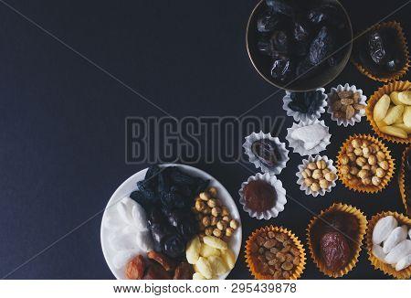Eid Mubarak. Different Iftar Sweets. Celebrating Eid Al Adha. Islamic Traditional Holiday. Eid Al-fi