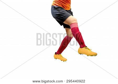 Football Player Woman In Orange Jersey Kick The Ball Posing Isolated Over White Background