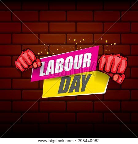 Happy Labour Day Vector Label With Strong Orange Fist On Red Brick Wall Background. Vector Happy Lab