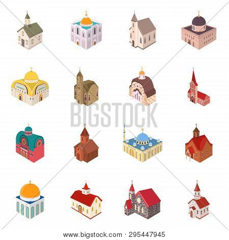 Isolated Object Of Architecture And Building Symbol. Collection Of Architecture And Clergy Vector Ic