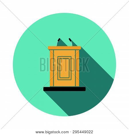 Witness Stand Icon. Flat Design Circle With Long Shadow. Vector Illustration.