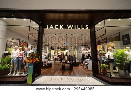 Singapore, 11 Apr, 2019: Jack Wills Shop Front Located Inside The Jewal Changi Airport In Singapore.