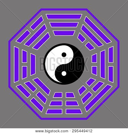 spiritual harmony yin yang chinese illustration feng shui  balance zen silhouette taoism purple poster