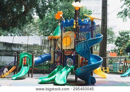 Tao Dan, Ho Chi Minh City, Vietnam - 03 July 2017: Swing Carousel In The Park For Children