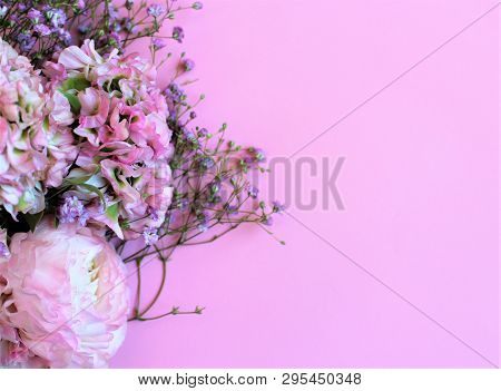 Light Pink Flowers (ranunculus) On A Pink Background. Background For Greetings, Invitations, Cards.