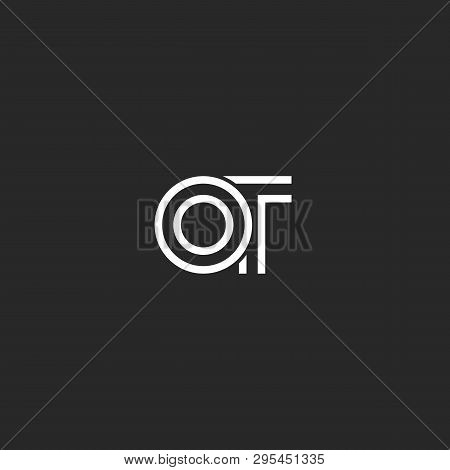Creative Hipster Initials Ot Letters Monogram Logo, Minimalist Style Two Overlapping Letters O And T