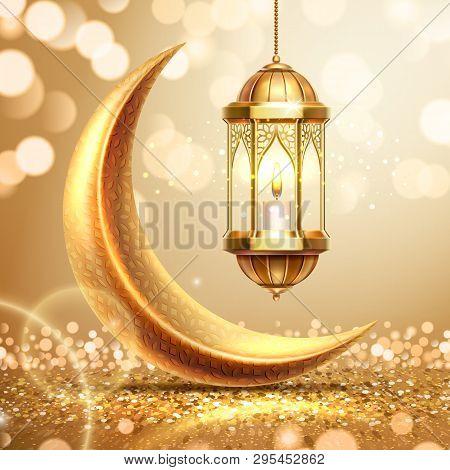 Golden Crescent And Lantern On Ramadan Greeting Card. Ramazan Mubarak Or Kareem Background For Arabi