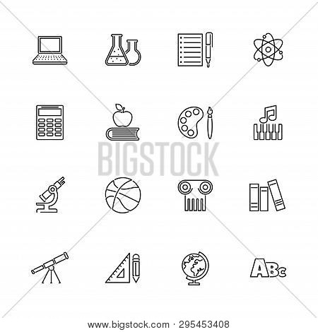 School Subject, Learning Outline Icons Set - Black Symbol On White Background. School Subject, Learn