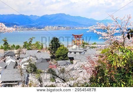 Aerial view on famous Floating Torii gate, Itsukushima Shrine, Miyajima island, Hiroshima, Japan. UNESCO world heritage site. Spring flowering sakura season