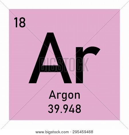 Illustration Of Periodic Table Element Argon Icon On White Background