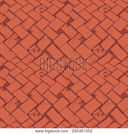 Abstract Terrazzo Floor Weave Grunge Stone Texture. Seamless Vector Pattern On Burnt Siena Backgroun