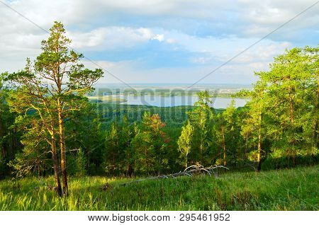 Forest landscape with trees, mountain slopes and lake under sunset light. Mountain hill with conifer forest trees, mountain forest landscape scene