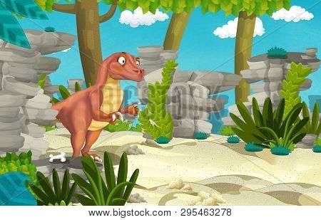 Cartoon Scene With Dinosaur Raptor In The Jungle - Illustration For Children