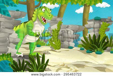 Cartoon Scene With Dinosaur Tyrannosaurus Rex In The Jungle - Illustration For Children
