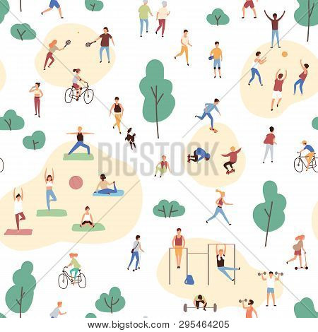 Seamless Pattern With Crowd Of People Performing Healthy Activities And Playing Sports Games In Park
