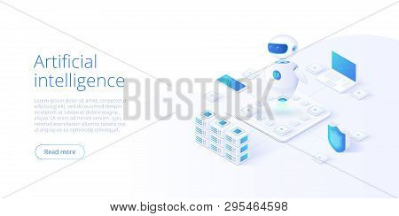 Artificial Intelligence Or Neural Network Concept In Isometric Vector Illustration. Neuronet Or Ai T