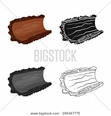Isolated Object Of Bark  And Piece Symbol. Collection Of Bark  And Lumber  Stock Symbol For Web.
