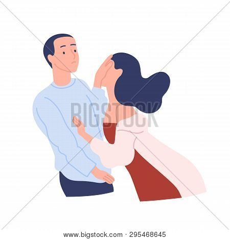 Young Woman Tries To Kiss Man, He Spurns Her With Disdain Or Contempt. Unwanted Or Unrequited Love,